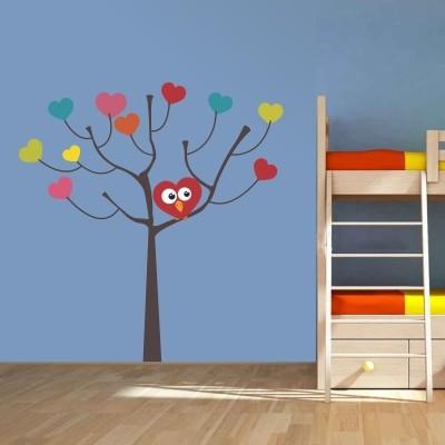 Stenska nalepka - Drevo s srčki in sovo