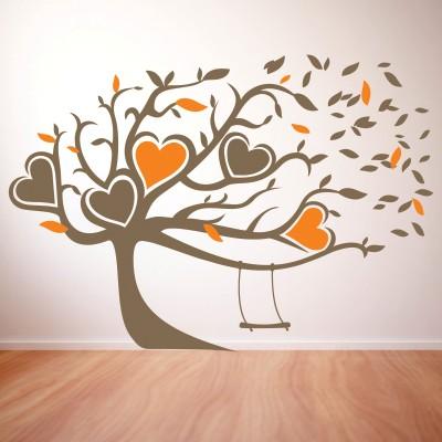 Stenska nalepka - Srca na drevesu